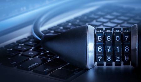 Lock on computer keyboard - data security concept image 免版税图像 - 30695416