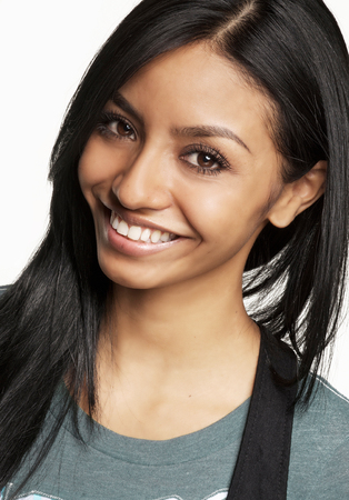 cute teen girl: Smiling happy attractive mixed race young woman