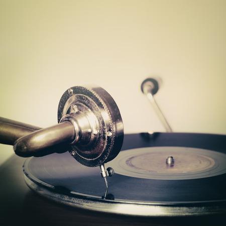 Grammofoon naald op een record Stockfoto
