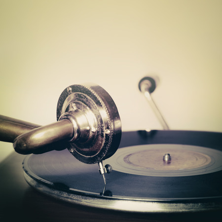 Gramophone needle on a record