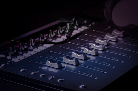recording studio: Sound board in recording studio Stock Photo