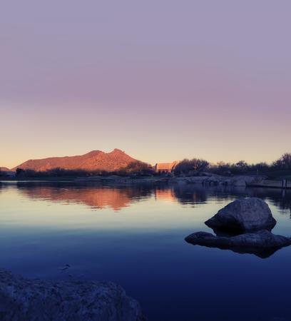 scottsdale: Calm,serene morning sunrise Scottsdale,Arizona Stock Photo