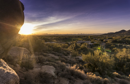 Desert sunset, Scottsdale,Phoenix golf community,AZ