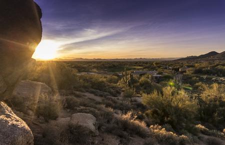 사막 일몰, 스코 츠 데일, 피닉스 골프 커뮤니티, AZ 스톡 콘텐츠
