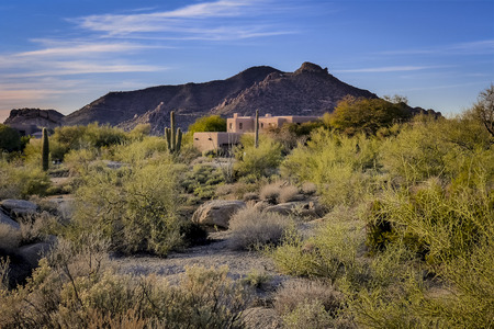 Desert landscape mountain and Southwest home