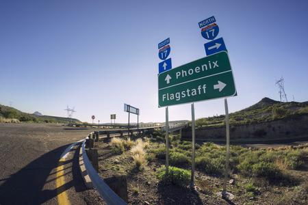 flagstaff: I17 Road sign for Phoenix and Flagstaff, Arizona