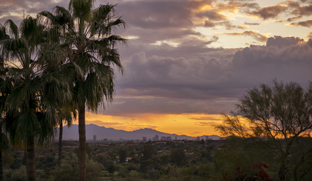 Phoenix valley of the sun landscape sunset city view