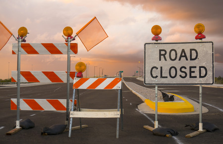 warning: Camino cerrado signo Foto de archivo
