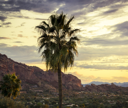 Camelback Mountain, valley canyon resort destination area, Phoenix,AZ,USA Stock Photo