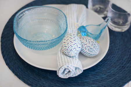 picknic: Eater spring table setting blue Stock Photo