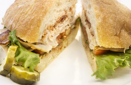 turkey bacon: Turchia pancetta lattuga panino blt Archivio Fotografico