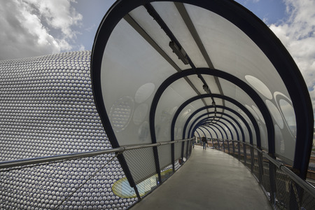 elevated walkway: Birmingham, England - 4,29, 2015: The Bullring shopping center. Entrance to shopping center is one of the busiest in the United Kingdom. It houses one of four Selfridges department stores in the UK