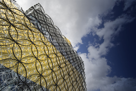 centenary: BIRMINGHAM, UNITED KINGDOM - April 29, 2015.- The Library of Birmingham, MECANOO ARCHITECTEN, Centenary Square, Birmingham, England, UK, Western Europe,