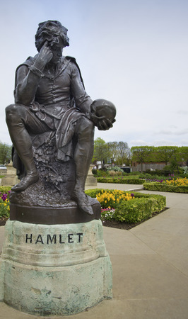 thespian: Stratford Upon Avon EnglandMay4th2015 Statue of Hamlet William Shakespeares character Stock Photo