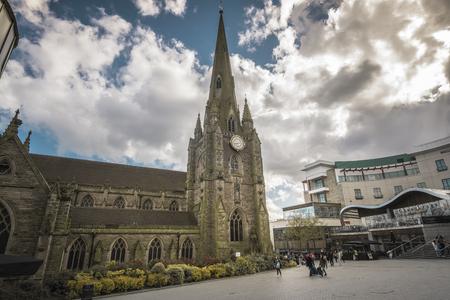 bull ring: Birmingham England May 3rd2015.  St Martins church in the Bull Ring Shopping Center