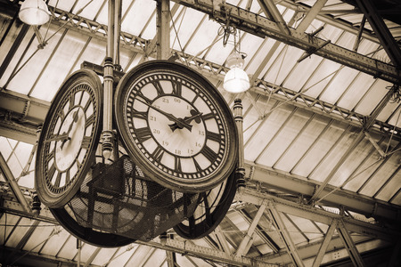 hand rails: Iconic clock at Waterloo station LondonEngland