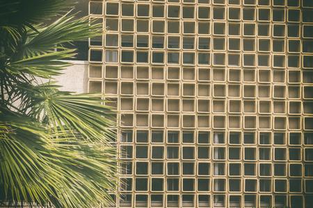 Mediados del siglo fondo el tema moderno clásico estilo Californiano de ladrillo textura de la pared y palmeras.