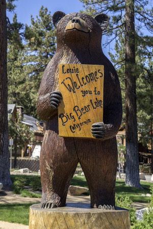 t ski: Big Bear Lake CA June 1st2015 Welcome Sign to the town of Big Bear Lake CaliforniaUSAthe reservoir in the San Bernardino Mountains has a surface elevation of 6750 ft.
