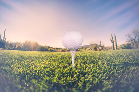 course: Super wide angle view of golf ball on tee with desert fairway and stunning Arizona sunset in background