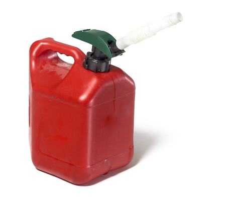 petrol can: Gas petrol plastic container Stock Photo