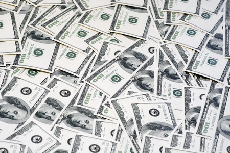 us currency: A pile of 100 hundred dollars US bank notes currency