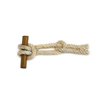 knot: Two half hitches knot - nautical theme Stock Photo