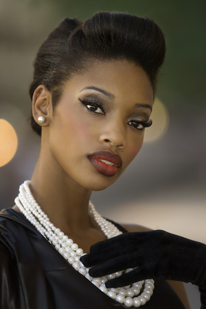 Beautiful African American model vintage styling 免版税图像