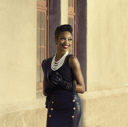 Beautiful African American model vintage styling 스톡 콘텐츠