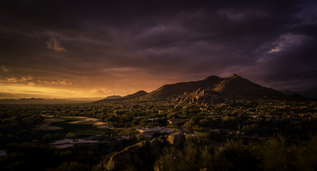 epic: Golden sunset over North Scottsdale,Arizona.