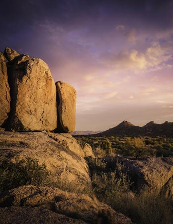 Beautiful red rock boulders overlooking north Scottsdale area in Arizona,USA Stock Photo