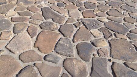 paver: Random shape stone paver hardscape pathway, driveway design