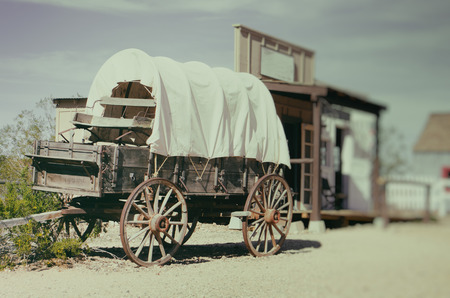 Wild west wagon - South West American cowboy times concept 스톡 콘텐츠