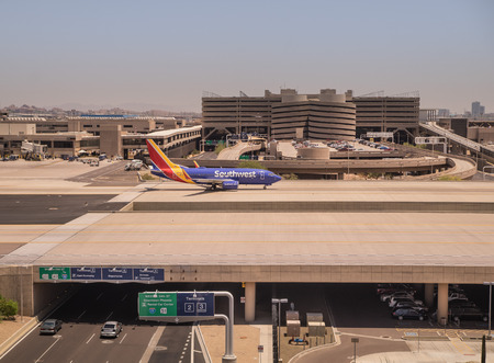 Sky Harbor Airport, Phoenix Az, May 28th,2016. Southwest Airlines is a major U.S. airline, the worlds largest low-cost carrier, headquartered in Dallas, Texas.