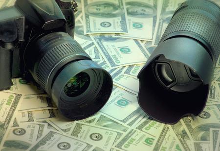 microstock: Camera lens photo background image