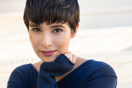 Beautiful young woman short hair style