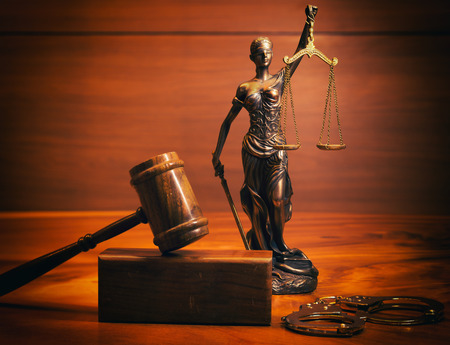 punishing: Burden of proof - legal law concept image with Scales of justice Stock Photo