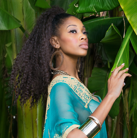 Beautiful African American model wearing tunic dress