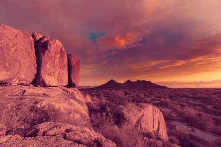 Valley of the sun, Phoenix Arizona desert sunset Stock Photo