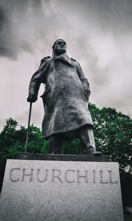 Winston Churchill Statue, London Stock Photo
