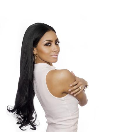 Piękna egzotyczna kobieta z długimi włosami Zdjęcie Seryjne