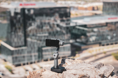 Tempe,Az,USA-5.2.18: DJI Osmo Mobile 2. DJI is a Chinese technology company. DJI revealed a new version of its popular gimbal at a much lower price for its handheld camera stabilizers At CES 2018.