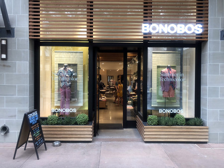 Scottsdale,AzUSA - 6.15.18: Bonobos is an e-commerce-driven apparel subsidiary of Walmart headquartered in New York City that designs and sells mens clothing. Editorial