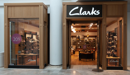 Scottsdale,AzUSA 10.31.18: Clarks, is a British-based, international shoe manufacturer & retailer. It was founded in 1825 by brothers Cyrus & James Clark in England. Editorial