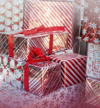 Christmas gift boxes holiday background decor Imagens