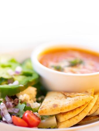 Healthy soup and salad, Tomato Soup and Greek salad.