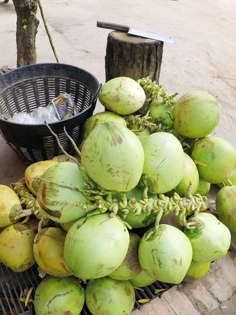 Thai Coconut street market vendor selling outdoors Imagens - 121101271