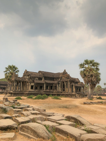 Angkor Cambodia Ancient wall Temples background and exotic travel imagery Imagens - 121101272