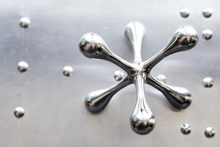 Metal silver jacks background abstract design art Imagens - 121649755