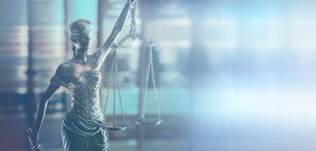 Scales of Justice, gavel and legal law books concept imagery