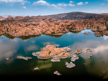 Aerial image of the Boulders of Granite Dell's and Watson Lake in Prescott Arizona